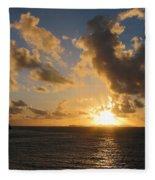 Sunrise With Clouds St. Martin Fleece Blanket