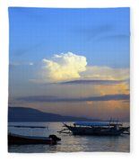 Sunrise With Outrigger Boats Fleece Blanket