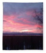 Sunrise With Tree Fleece Blanket