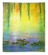 Sunrise With Water Lilies Fleece Blanket