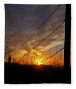 Sunset Along The Fence Yellow Red Orange Fine Art Photography Print  Fleece Blanket