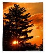 Sunset And Pine Tree  Fleece Blanket