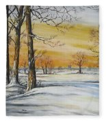 Sunset And Snow Sold Fleece Blanket