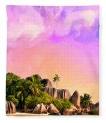 Sunset At Anse Source Argent Seychelles Fleece Blanket