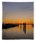 Sunset At Burlington Bay - Vermont Fleece Blanket