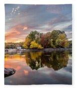 Sunset At Cambridge Reservoir Fleece Blanket