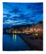 Sunset At Camogli In Liguria - Italy Fleece Blanket