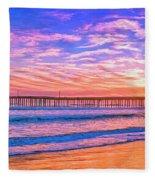 Sunset At Cayucos Pier Fleece Blanket