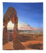 Sunset At Delicate Arch Utah Fleece Blanket