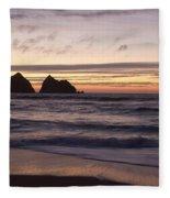 Sunset At Holywell Bay Fleece Blanket