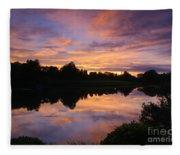 Sunset At Japanese Garden Fleece Blanket