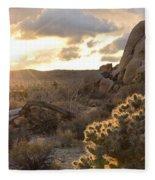 Sunset At Joshua Tree National Park Fleece Blanket