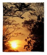 Sunset At Jungle Fleece Blanket