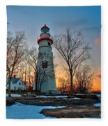 Sunset At Marblehead Lighthouse Fleece Blanket