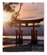 Sunset At Miyajima Fleece Blanket
