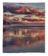 Sunset At Morro Strand Fleece Blanket