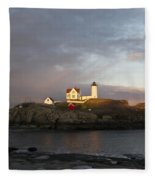 Sunset At Nubble Light Fleece Blanket