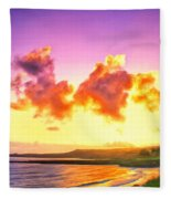 Sunset At Oneloa Beach Maui Fleece Blanket