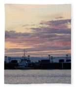 Sunset At Port Angeles Fleece Blanket