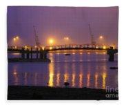 Sunset At Southampton Docks Fleece Blanket