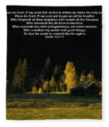Sunset At The Cabin With Scripture Fleece Blanket