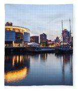 Sunset At The Dock Fleece Blanket