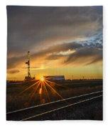Sunset At The Edge Of Oil Rigs Fleece Blanket