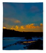 Sunset At The Green Bridge Fleece Blanket