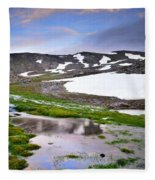 Sunset At The Lake At 3000 M. Hight Fleece Blanket