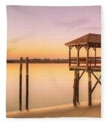 Sunset At Tybee Fleece Blanket
