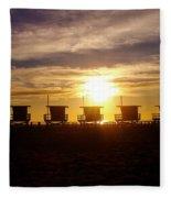 Sunset At Venice Beach Fleece Blanket