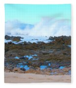 Sunset Beach Crashing Wave - Oahu Hawaii Fleece Blanket