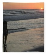 Sunset Beach Silhouette Fleece Blanket