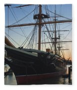 Sunset Behind Hms Warrior Fleece Blanket