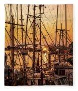 Sunset Boat Masts At Dock Morro Bay Marina Fine Art Photography Print Sale Fleece Blanket