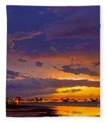 Sunset By Causeway Bridge Fleece Blanket