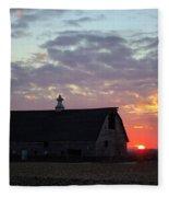Sunset By The Barn 2 Fleece Blanket