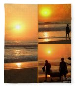 Sunset - Orange Beach Collage Fleece Blanket