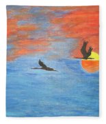 Sunset Cranes Fleece Blanket