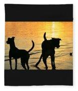 Sunset Dogs  Fleece Blanket