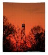 Sunset Fire Tower In Oconee County Fleece Blanket