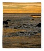Sunset From Damon Point Fleece Blanket