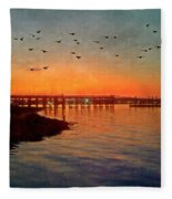 Sunset From Quincy Ma Fleece Blanket