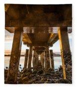Sunset From Under The Pier Fleece Blanket