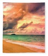 Sunset Glow At Waimanalo Fleece Blanket