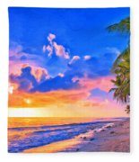 Sunset Glow On The Kona Coast Fleece Blanket