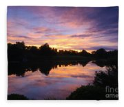 Sunset II At Japanese Garden Fleece Blanket