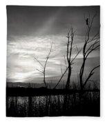 Sunset In Black And White Fleece Blanket