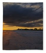 Sunset In Cape May Along The Beach Fleece Blanket