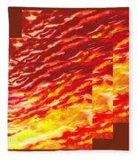 Sunset In Desert Abstract Collage  Fleece Blanket
